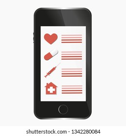 Medical Checklist online on Smartphone Illustration
