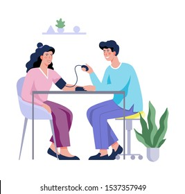 Medical checkup of blood pressure and health examination. Professional treatment. Isolated vector illustration in cartoon style