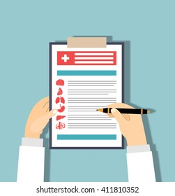 Medical checkup report data in flat design.Clipboard in his hand doctor. Doctor takes notes in a Clipboard. Clipboard, hand, pen. Medical report, medical background. Vector, flat design. Patient care.