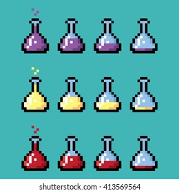 Medical chemical bottles with elixir in pixel style. Different stages from full to empty.