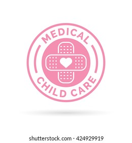Medical child care badge symbol with pink heart and plaster bandaid icon. Vector illustration.