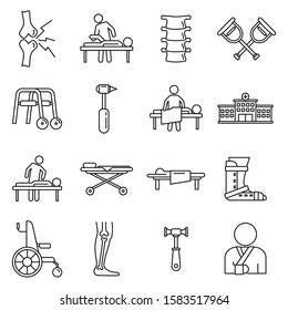 Medical chiropractor icons set. Outline set of medical chiropractor vector icons for web design isolated on white background