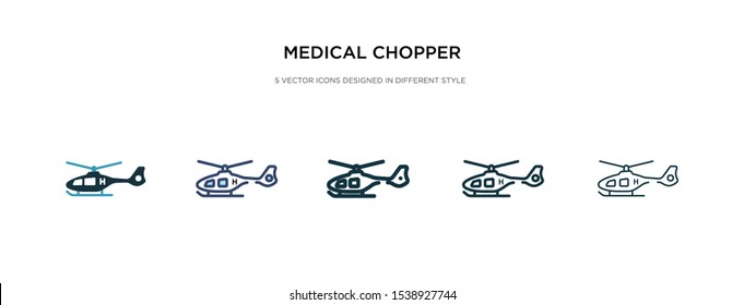 medical chopper transport icon in different style vector illustration. two colored and black medical chopper transport vector icons designed in filled, outline, line and stroke style can be used for