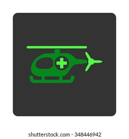 Medical Chopper vector icon. Style is flat rounded square dark gray button, green symbol, white background.
