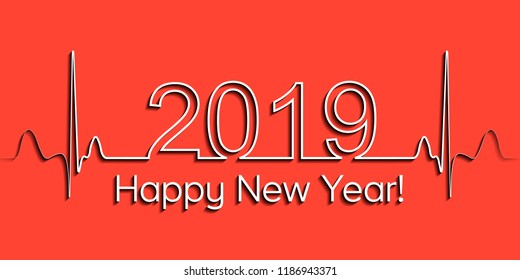 Medical Christmas banner, 2019 happy new year, vector 2019 health medical style wave heartbeat, concept healthy lifestyle, 3D effect with shadow, fitness life