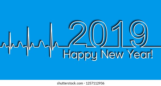 Medical Christmas banner, 2019 happy new year, vector 2019 health medical style wave heartbeat, concept healthy lifestyle, 3D effect with shadow