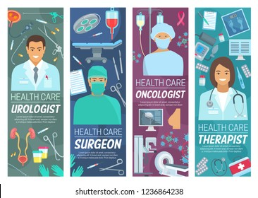 Medical clinic, doctors and therapy. Vector urologist, surgeon or oncologist therapist, medicine and healt hcare. Urology therapy and oncology surgery, medical treatment, equipment and diagnostics