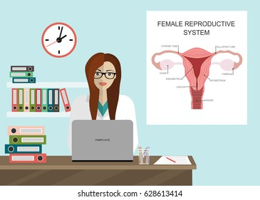 Medical Clinic, gynecologist. Hospital Health Center. vector