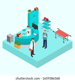 Medical clinic hospital emergency ambulance reception interior vector isometric isolated illustration. People doctor with medications, nurse, injured patient. Medical treatment, health care.