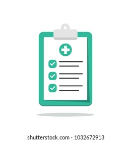 Medical clipboard with completed checklist. Hospital checkup document. Vector illustration in flat style.