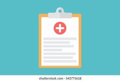 Medical clipboard flat vector icon