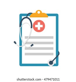 Medical clipboard. Report with stethoscope. Vector illustration flat design. Medical document. Healthcare concept.