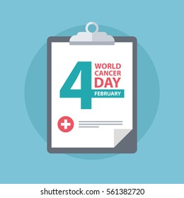 Medical clipboard with World Cancer Day sign. Flat design vector illustration.