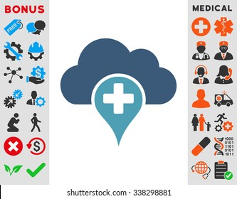 Medical Cloud vector icon with bonus. Style is bicolor flat symbol, cyan and blue colors, rounded angles, white background.