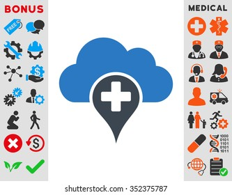 Medical Cloud vector icon. Style is bicolor flat symbol, smooth blue colors, rounded angles, white background.