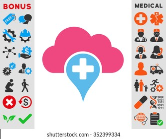 Medical Cloud vector icon. Style is bicolor flat symbol, pink and blue colors, rounded angles, white background.