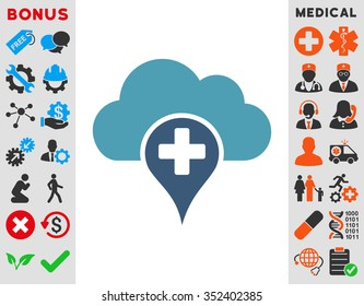 Medical Cloud vector icon. Style is bicolor flat symbol, cyan and blue colors, rounded angles, white background.
