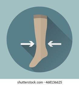 Medical compression hosiery female icon.