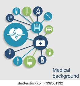 Medical concept abstract background. Icons of medical equipment, diagnostics and medicine. Vector illustration.