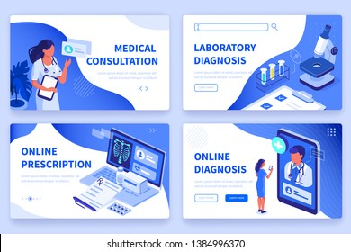 Medical concept  banners templates. Can use for backgrounds, infographics, hero images. Flat isometric modern vector illustration.\r