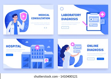 Medical concept  banners templates. Can use for backgrounds, infographics, hero images. Flat isometric modern vector illustration.