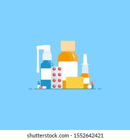 Medical concept. Cold, flu, cough preparations: medicinal syrup, nose spray, throat spray, pills, capsules on a blue background. Vector illustration in a flat style.