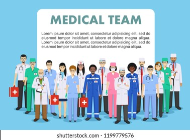 Medical concept. Detailed illustration of doctor and nurses in flat style isolated on blue background. Practitioner doctors man and woman standing in different positions. Vector illustration.