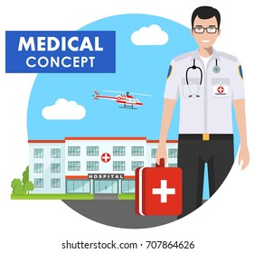 Medical concept. Detailed illustration of emergency doctor man in uniform on background with hospital and flying helicopter in flat style. Vector illustration.