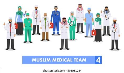 Medical concept. Detailed illustration of muslim arabian doctor and nurses in flat style isolated on white background. Practitioner arabic doctors man and woman standing. Vector illustration