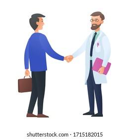 Medical concept. Doctor and businessman shake hands, vector illustration