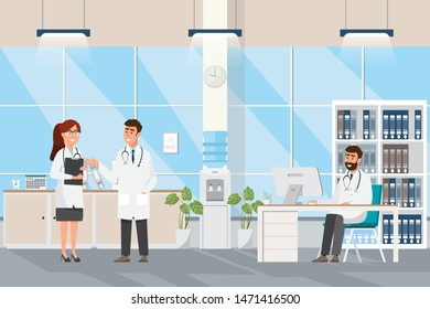 Medical concept with doctor and patients in flat cartoon at hospital hall. Vector illustration