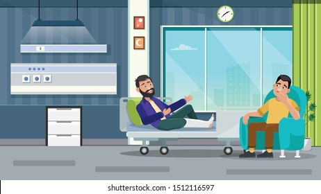 Medical concept with friend and patients in flat cartoon at hospital hall. Vector illustration - Vector