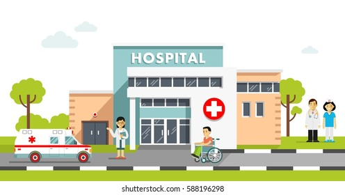 Medical concept with hospital building and doctor in flat style. Panoramic background with hospital building, doctors, nurses, disabled man in wheelchair and ambulance car in flat style.