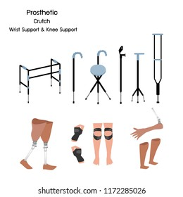 Medical Concept, Illustration Collection of Prosthetic Leg, Knee and Arm, Crutches and Walkers with Wrist and Knee Support.