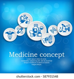 Medical concept. Medicine symbol and infographic elements with text on blue. Hospital presentation poster. Vector illustration