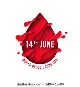 Medical concept with red paper cut drop icon and 14 June text. World blood donor day. Vector illustration. Donation poster or flyer design element.