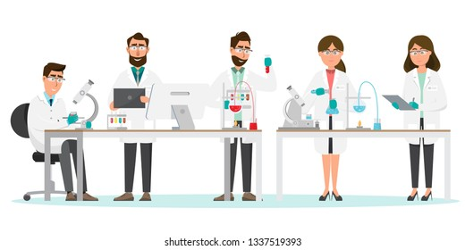 medical concept. Scientists man and woman research in a laboratory lab. vector illustration cartoon character.