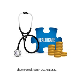 Medical concept with stethoscope,piece of puzzle with HEALTH CARE conceptual text and coins. illustration design