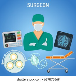 medical concept with surgeon, scalpel, x-ray and stretcher flat icons. Vector illustration