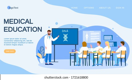 Medical conference and education about dna in clinic, vector illustration. Flat doctor study research in medicine science, landing. Team scientist student communicate in hospital office.