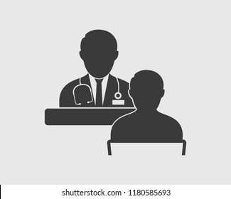 Medical consultant icon on gray background