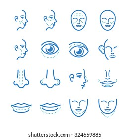 Medical: Cosmetic surgery icon set. Included the icons as faec, facial, beauty, aging, eye, nose and more.