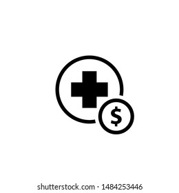 Medical cost glyph icon. Clipart image isolated on white background