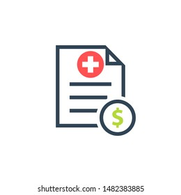 Medical cost icon. Clipart image isolated on white background