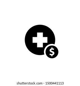 Medical cost silhouette icon. Clipart image isolated on white background