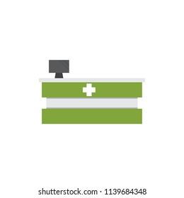 Medical counter in hospital.Vector illustration.