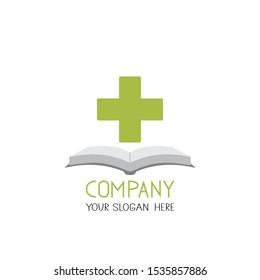 medical cross and book symbol brand logo vector