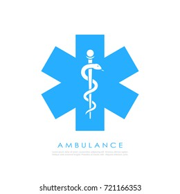 Medical cross with caduceus vector icon on white background