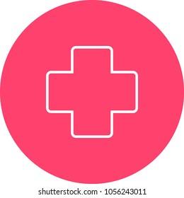 Medical cross emblem line icon, outline vector sign, linear style pictogram isolated on white. Symbol, logo illustration. Editable stroke