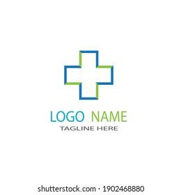 Medical cross healthy logo template vector icon